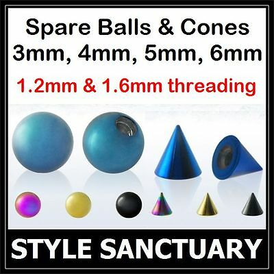 Titanium Ball Cone Spare Replacement Labret Stud Belly Bar Nipple Tongue Barbell