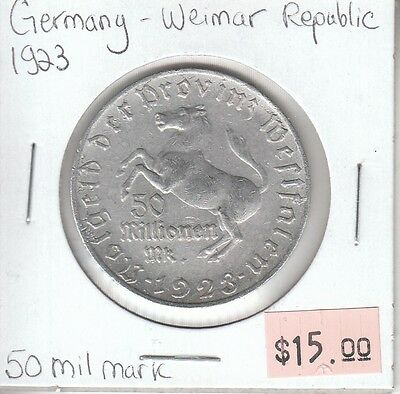 Germany Weimar Republic 50 Million Mark 1923 Circulated
