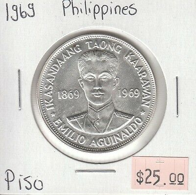 Philippines Piso 1969 Circulated Silver