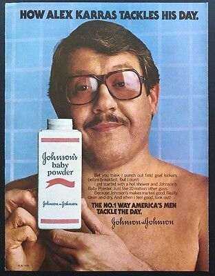 1978 Vintage Print Ad | Johnson & Johnson | Baby Powder Alex Karras Football