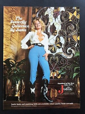 1978 Vintage Print Ad | Justin Boots | Blond Woman In Western Wear Cleavage