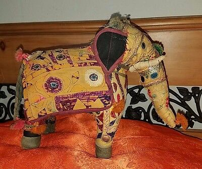 India vintage antique Elephant embroidered mirrored Indian ethnic folkart toy