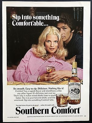 1978 Vintage Print Ad | Southern Comfort | Whiskey Woman In Pink Shirt