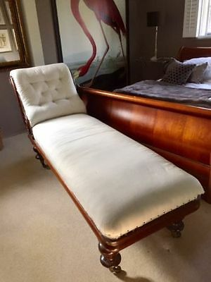 Rare antique hand carved ornate chaise lounge comp rebuild & upholstered C1880