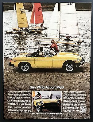1978 Vintage Print Ad | MGB | Yellow Convertible Classic Sports Car