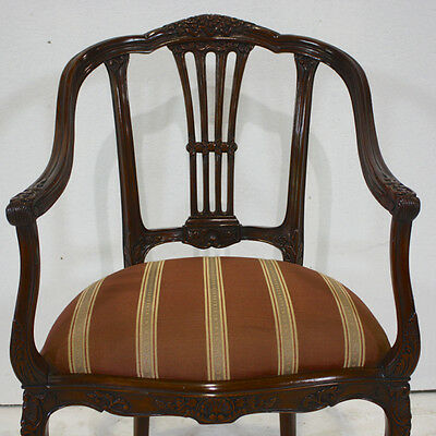 Single Art Nouveau style traditional arm chair mahogany wood