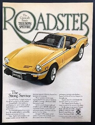 1978 Vintage Print Ad | Triumph Spitfire | Yellow Convertible Classic Sports Car