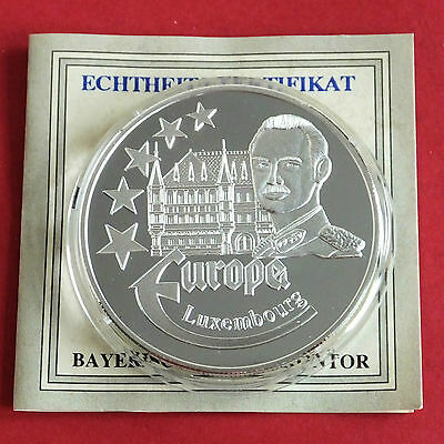 LUXEMBOURG 1997 EUROPE COMMEMORATIVE 40mm .999 FINE SILVER PROOF MEDAL A - coa