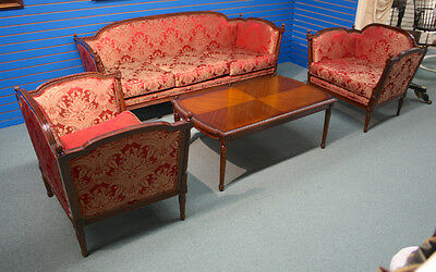 French traditional sofa and 2 chair set in mahogany finish with red/gold fabric