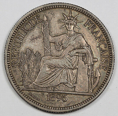 French Indo China 1895 A 1 Piastre 27.215 Gram Silver Coin XF/AU KM#5 Nice Toned