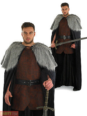Mens Medieval Fur Cape Adult Game of Thrones Jon Snow Fancy Dress Costume Outfit