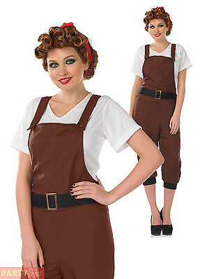 Ladies Land Girl Costume Womens 1940s WW2 Munitions Fancy Dress Army Outfit