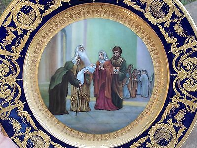 Antique porcelain hand-painted cabinet plate 1895 gold encrusted Biblical theme