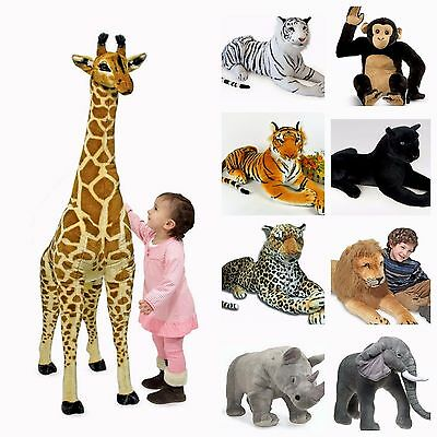 Large Soft Plush Stuffed Cuddly Toy Giant Wild Animal/Tiger/Leopard/Giraffe/Deer