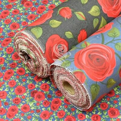 Red Rose Chambray Denim Poly Cotton Floral Fabric Blue,Ivory,Black - dressmaking