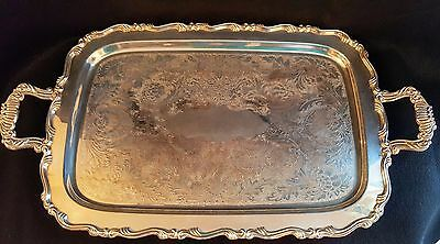 Vintage Oneida Silverplate Large Butlers Serving Tray Two Handles with Four Feet