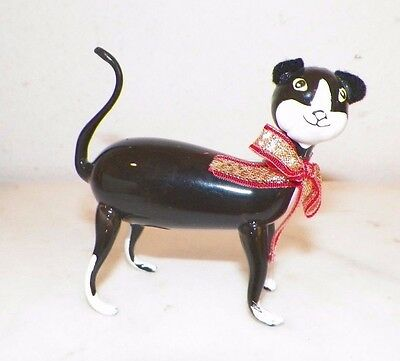 Vintage Italian Italy Figural Glass Black & White Cat Christmas Ornament 3 1/4""