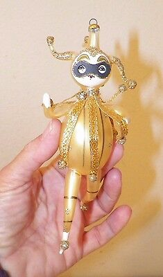 Vintage Italian Italy Figural Glass Gold Jester Christmas Ornament 5 1/2""