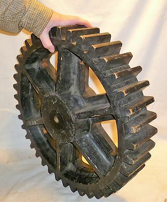 "Wood Foundry Pattern Mold Mould 20"" Gear Cog Steampunk Industrial Vtg"