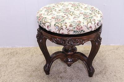 19th french victorian hand carved rosewood adjustabl piano bench new upholstery