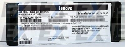 49Y1404 - Lenovo Factory Sealed 4GB (Dual-Rank x8) 1.35 V PC3L-10600E LP 49Y1422
