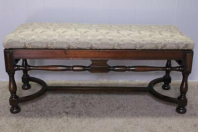 1930 JACOBIAN Style Twisted Walnut Piano, Window Bench New Upholstery