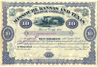 Missouri Kansas & Texas Railway Company Stock Certificate Railroad Purple