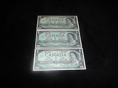 Bank Of Canada= 1967 3X$1.00 Uncirculated Notes