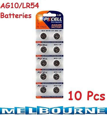 10 pcs AG10 GP189 SR54 LR1130 L1131 1.5V Alkaline Button Cell Battery PKCell