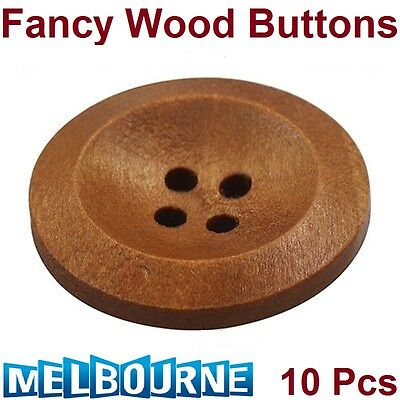 10 Pcs Wooden 4 Holes Round Wood Sewing Buttons DIY Craft Scrapbooking 25mm
