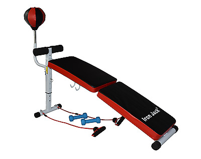 Weight Bench Curved Adjustable Folding with resistance bands boxing speed ball
