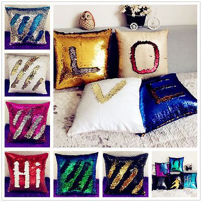 Mermaid Sequins Cushion Pillow Cover Throw Pillow Case Magical Color Change CL