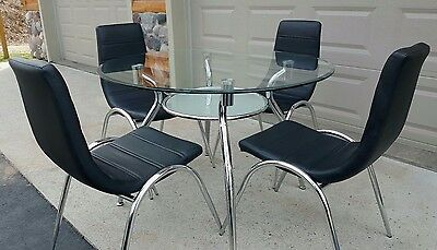 Mid Century Modern Chrome Table & Chairs