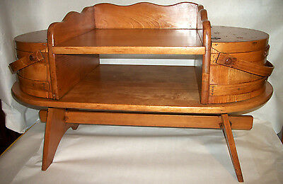 Vintage Antique Rustic Wooden Wine Barrel Sewing / Coffee Center Table