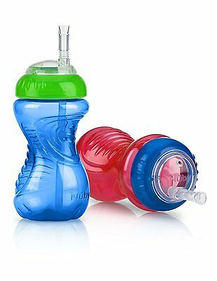 Nuby 2-Pack No-Spill Cup with Flex Straw, 10 Ounce, Colors May Vary