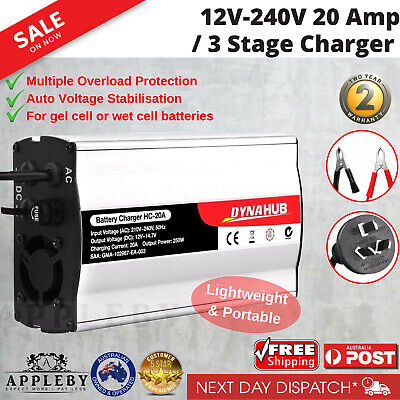 12V-240V Battery Charger Power 20 Amp 3 Stage