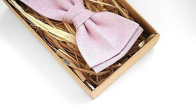 Light pink bow tie, rose pink Linen Bow Tie, Dusty pink mens bow tie, Kids pink