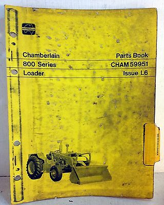 Chamberlain Parts Book Catalog List Manual: 800 Series Loader, CHAM59961 (5386)
