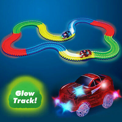 Mega Set Magic Tracks Glowing Race In The Dark Track With Light Up LED Car Toys