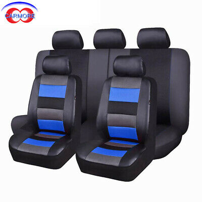 Car Seat Covers Set PU leather mesh breathable universal  11 pieces grey blue