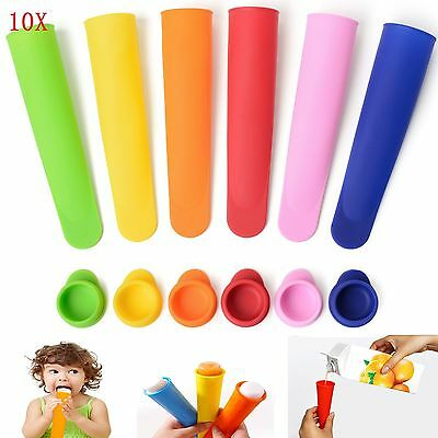 10X Silicone Push Up Frozen Stick Ice Cream Pop Yogurt Jelly Lolly Maker Mould