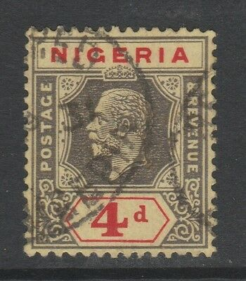 1914 NIGERIA 4d BLACK/RED ON YELLOW STAMP – USED