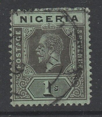 1914 Nigeria 1/- Black On Green Stamp – Used