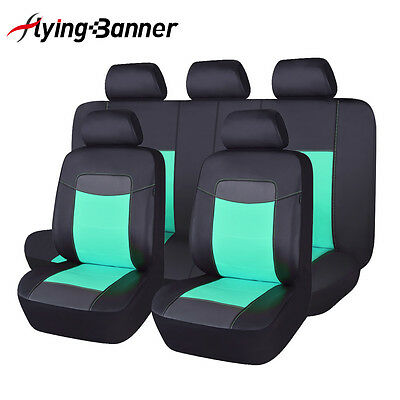 PU Leather Seat Covers Set 11 Piece Universal fit car SUV Van pick up mint green