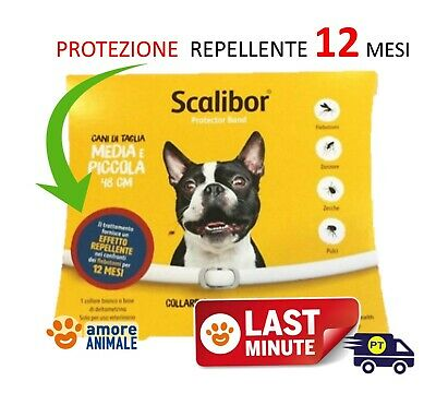 NEW SCALIBOR Collare - Taglia PICCOLA-MEDIA CM 48 Antiparassitario per cane cani