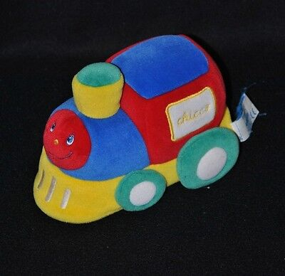 Peluche doudou train locomotive CHICCO rouge bleu jaune vert 16 cm TTBE
