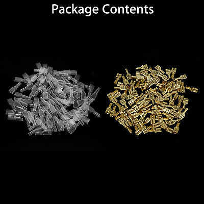 200pcs Female Spade Terminal Connectors 100* Insulated Sleeves Wire Crimp 6.3mm