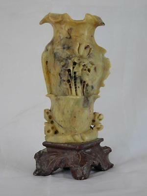 Chinese Soapstone Vase C1930 Carved With A Rose Now Reduced 15