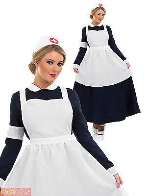 cde0bb9d15f9c Ladies Victorian Nurse Costume Womens Florence Nightingale Fancy Dress  Outfit