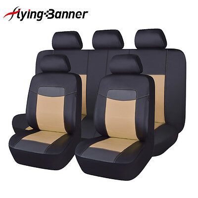 PU Leather Seat Covers Sets Universal fit car SUV Van pick up black & beige